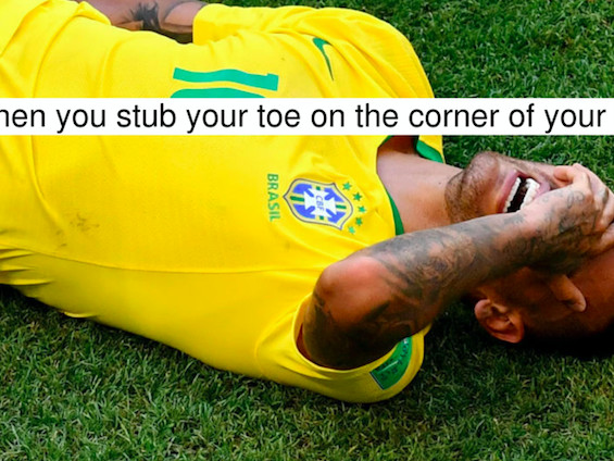 Neymar Overreacting After Being Fouled Is Exactly What I Look Like After Stubbing My Toe