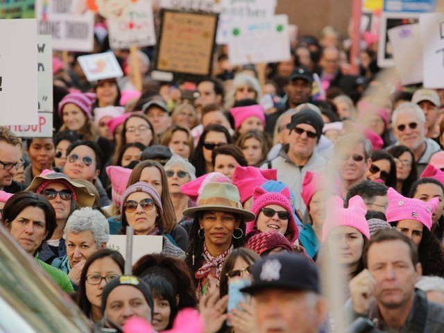 Tens of thousands turn out for Women's March in downtown Los Angeles