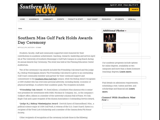 Southern Miss Gulf Park Holds Awards Day Ceremony