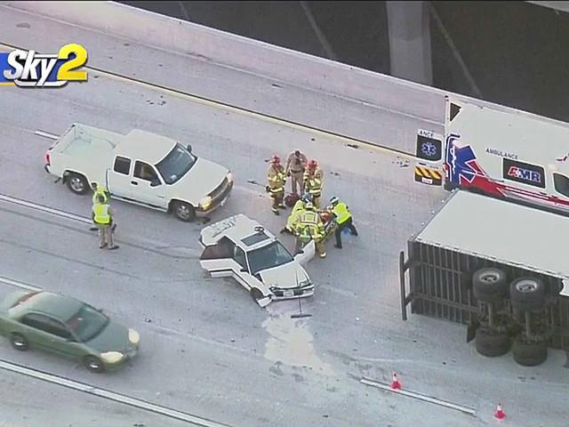 15 Freeway Big Rig Crash Snarls Morning Commute Through Rancho Cucamonga