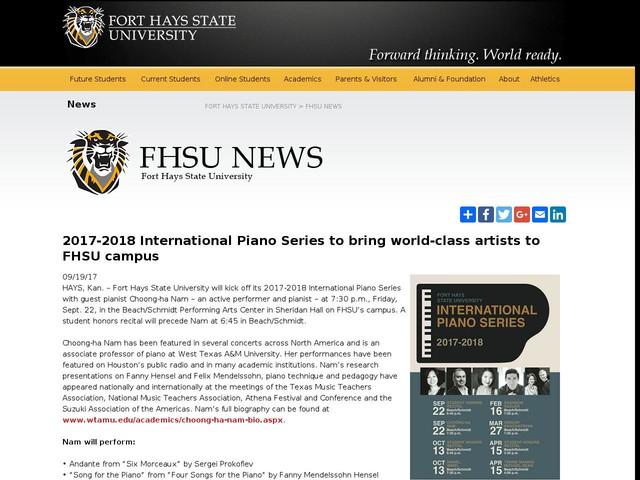 2017-2018 International Piano Series to bring world-class artists to FHSU campus