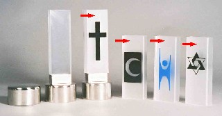 Bårebiltaklys, akrylhette med symbol