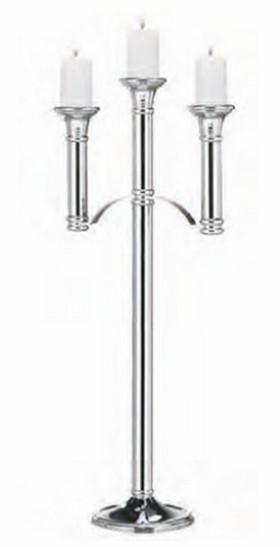 Sølvfarget lysestake høyglans polert 3 armet