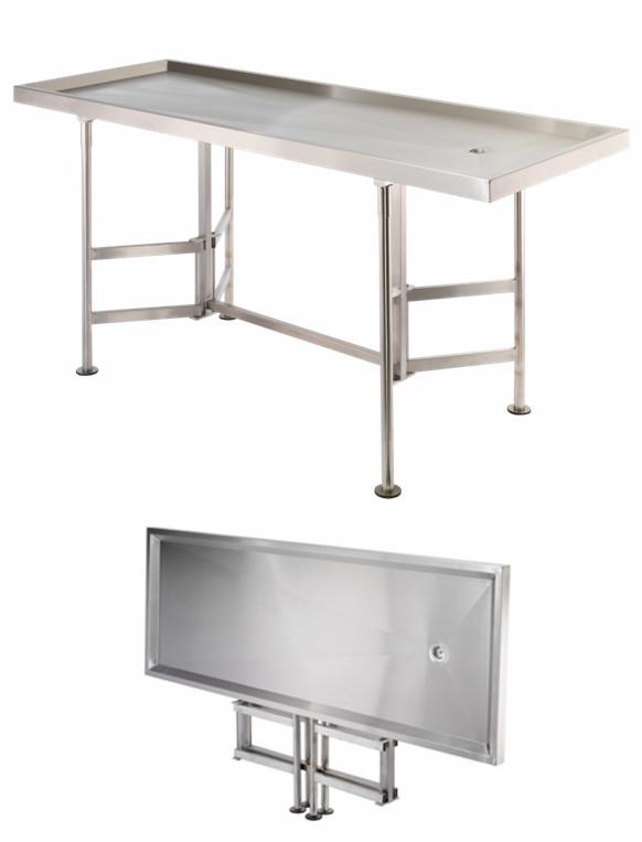 Sammenleggbart stellebord i stål med avløp