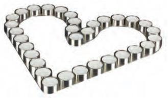 Hjerte til telys flatliggende 32 lys