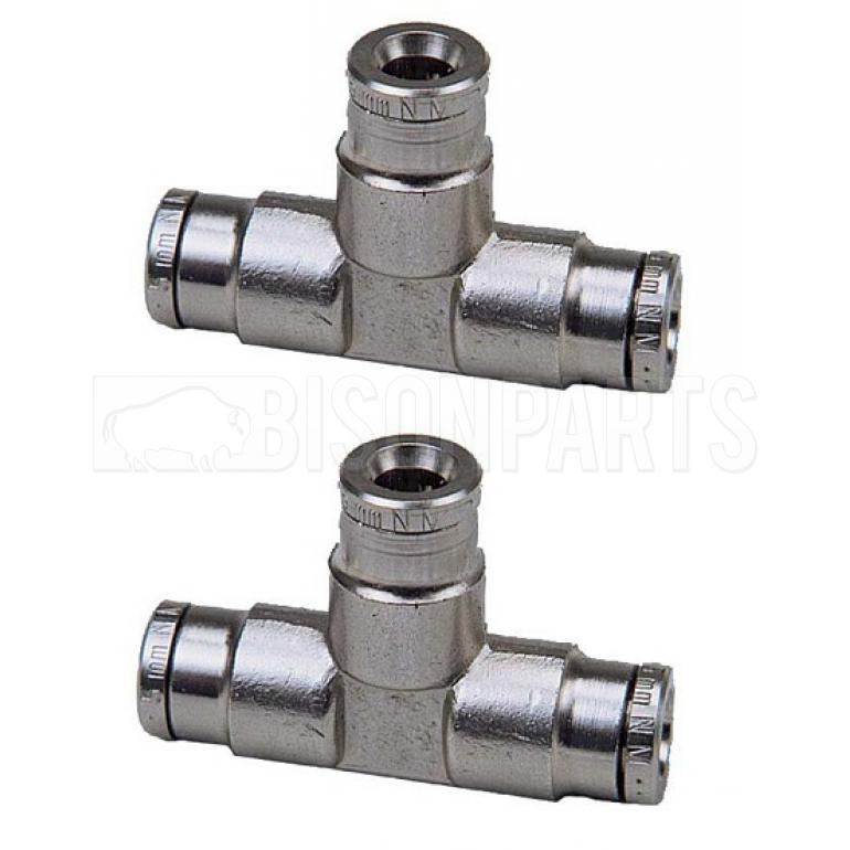 4MM TEE STRAIGHT BRASS EQUAL CONNECTORS (PAIR)