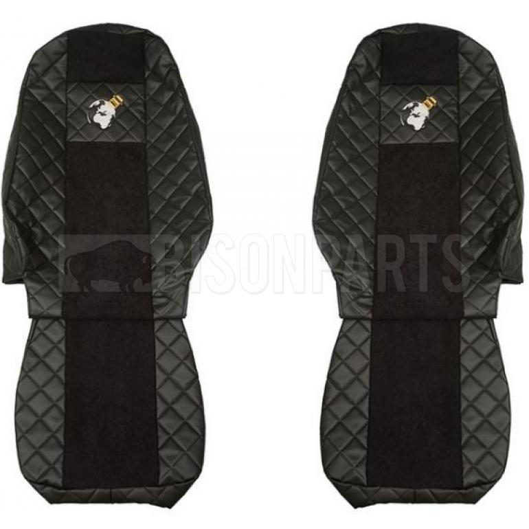 BLACK TRIMMED SEAT COVER SET (PAIR)