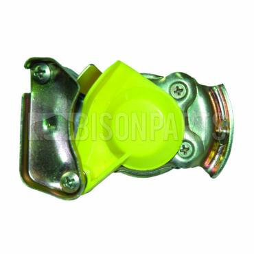 TRAILER AIR LINE LIGHT WEIGHT ALLOY YELLOW PALM COUPLING M16x1.5 TAPERED