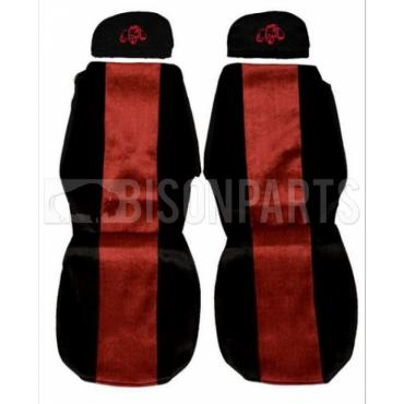SCANIA 4 SERIES (1995 - 2004) SEAT COVERS PAIR (RED TRIM)