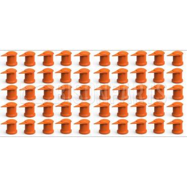 32MM LONG REACH DUSTITE WHEEL NUT COVERS ORANGE (PKT 100)