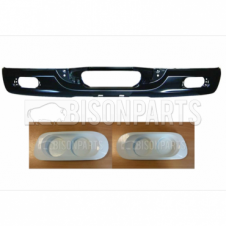 DAF XF105 (2005-2013) Front Bumper (Black Metal) & Pair Of Spot & Fog Lamp Blanks (White Plastic)