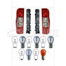 Ford Transit MK7 2006-2014 Panel Van Rear Pair of Combination Lamps with Bulbs & Holders