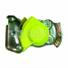 TRAILER AIR LINE LIGHT WEIGHT ALLOY YELLOW PALM COUPLING WITH SELF SEALING VALVE M22x1.5 TAPERED