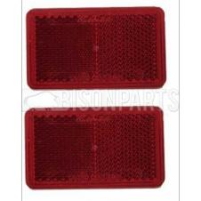RED OBLONG REFLECTOR SELF ADHESIVE 75x45MM (PAIR)