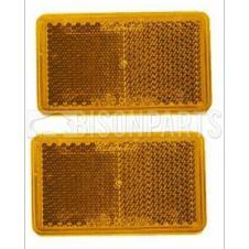 AMBER OBLONG REFLECTOR SELF ADHESIVE 75x45MM (PAIR)
