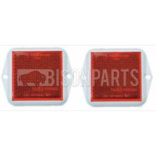 RED SQUARE REAR REFLECTOR 58X58MM (PAIR)