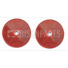 RED ROUND REAR REFLECTOR BOLT / SCREW ON & SELF ADHESIVE O/D 63 / 60MM (PAIR)