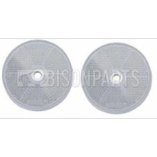 CLEAR ROUND REAR REFLECTOR BOLT / SCREW ON & SELF ADHESIVE O/D 63 / 60MM (PAIR)