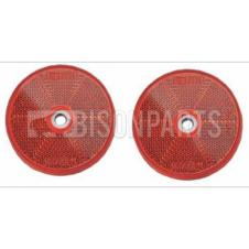 RED ROUND REAR REFLECTOR BOLT / SCREW ON & SELF ADHESIVE O/D 80MM (PAIR)