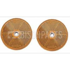 AMBER ROUND REAR REFLECTOR BOLT / SCREW ON & SELF ADHESIVE O/D 80MM (PAIR)