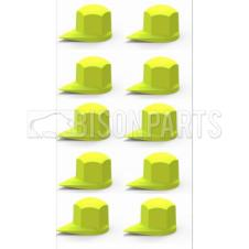 32MM DUSTITE WHEEL NUT COVERS FLUORESCENT YELLOW (PKT 10)