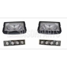 Scania 4 / 5 / 6 PRT Series Rectangular Sun Visor Spot Lamp Flush Mount &  Led Visor Lamp Kit Clear (PAIR OF)
