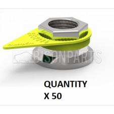 38MM WHEEL NUT INDICATOR YELLOW (PKT 50)