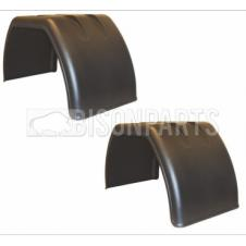 UNIVERSAL FLAT TOP MUDGUARDS / MUDWINGS TO SUIT TWIN WHEELS JX37F (PAIR)