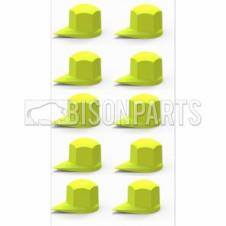 30MM DUSTITE WHEEL NUT COVERS YELLOW (PKT 10)
