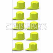 38MM DUSTITE WHEEL NUT COVERS YELLOW (PKT 10)