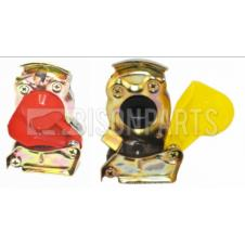 TRAILER AIR LINE LIGHT WEIGHT ALLOY RED & YELLOW PALM COUPLINGS M16x1.5 (PAIR)