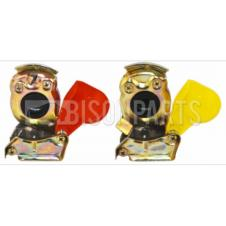 TRAILER AIR LINE LIGHT WEIGHT ALLOY RED & YELLOW PALM COUPLINGS M22x1.5 (PAIR)