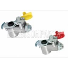 TRAILER AIR LINE LIGHT WEIGHT ALLOY PALM COUPLINGS WITH INLINE FILTER M16x1.5 (PAIR)