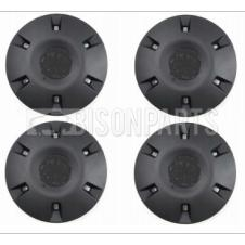 PLAIN BLACK WHEEL CENTRE COVERS (PKT 4)