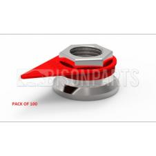 27MM WHEEL NUT INDICATOR RED (PKT 100)