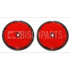 RED ROUND REAR REFLECTOR BOLT / SCREW ON & SELF ADHESIVE (PAIR)