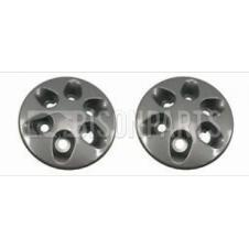 6 HOLE BLACK WHEEL HUB TRIM COVER FITS RH & LH (PAIR)