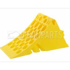 YELLOW PLASTIC WHEEL CHOCK & HANDLE