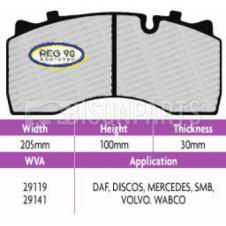DAF LF55 Series 12 - 18 Tonne - Pan19-2 Brake Pad Set (ECE R90) WVA 29141