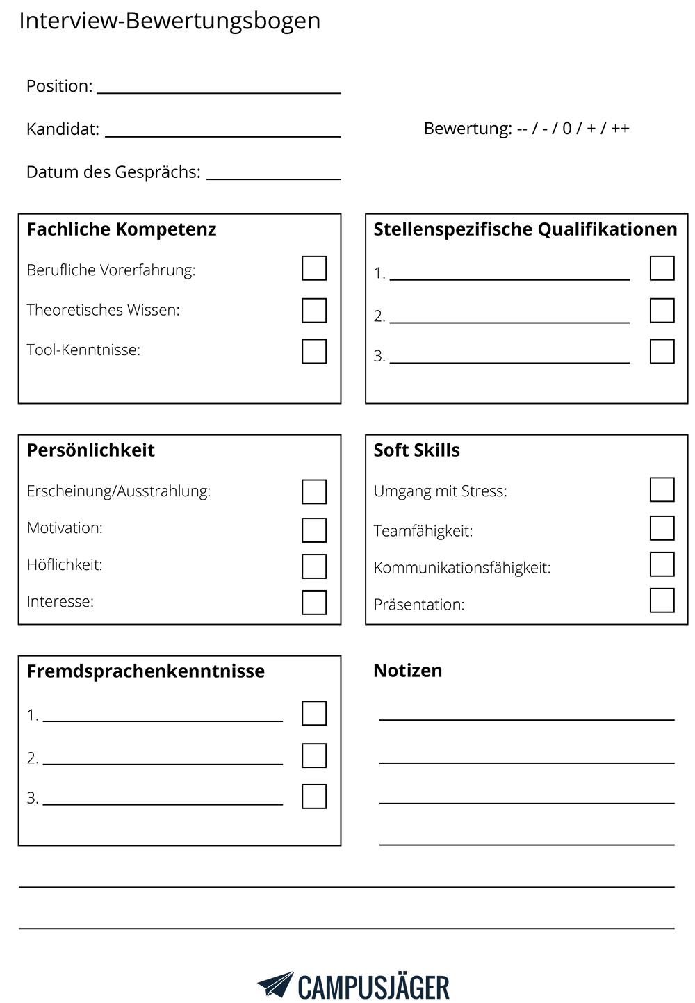bewertungsbogen bewerbungsgespräch