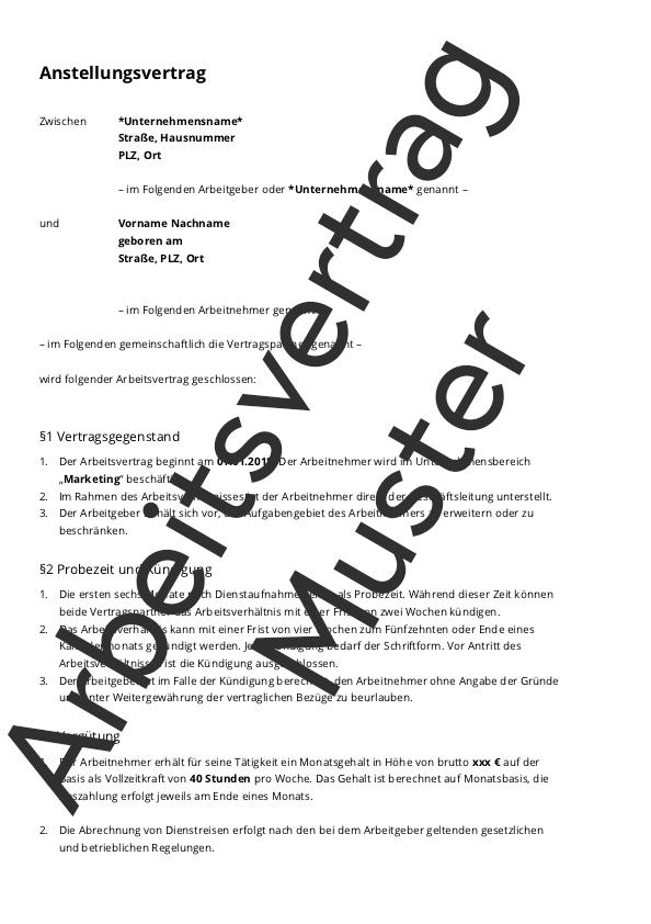 Der Arbeitsvertrag Muster Zum Download Tipps Und Hinweise
