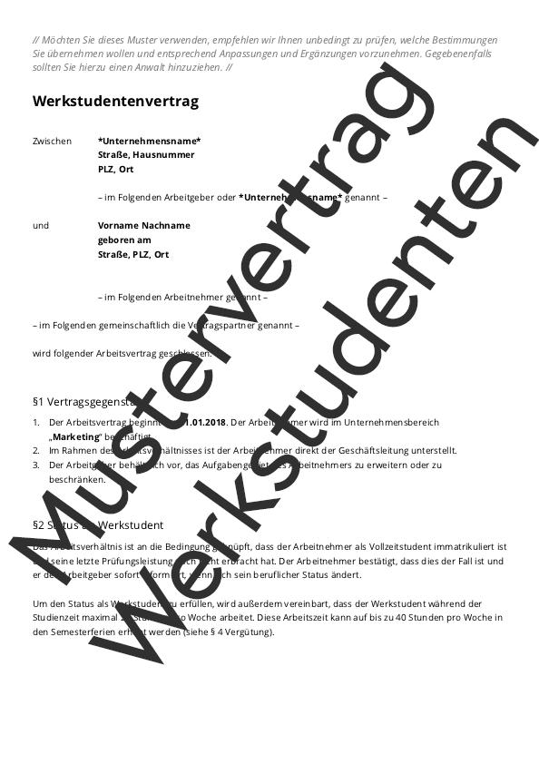Mustervertrag Werkstudenten
