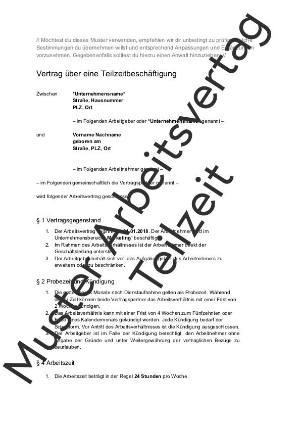Arbeitsvertrag Teilzeit Muster