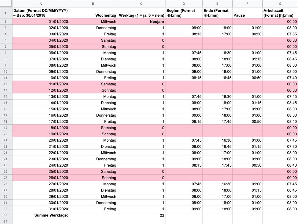 Arbeitszeiterfassung mit Excel – Vorlage, um die individuelle tägliche Arbeitszeit zu erfassen