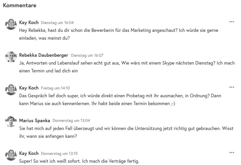 Screenshot: Kommentarfunktion