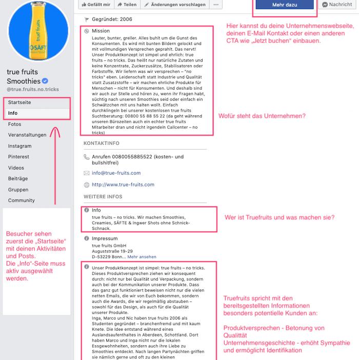 Das Bild zeigt einen Screenshot eines Unternehmensprofils auf Facebook
