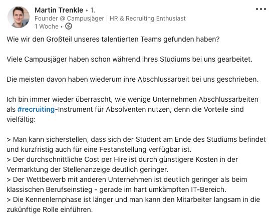 Das Bild zeigt einen Screenshot eines Linkedin Posts von Martin Trenkle (Recruitingspezialist).