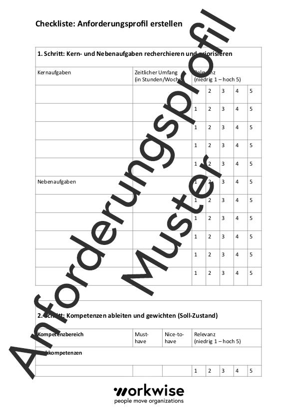 Anforderungsprofil Muster