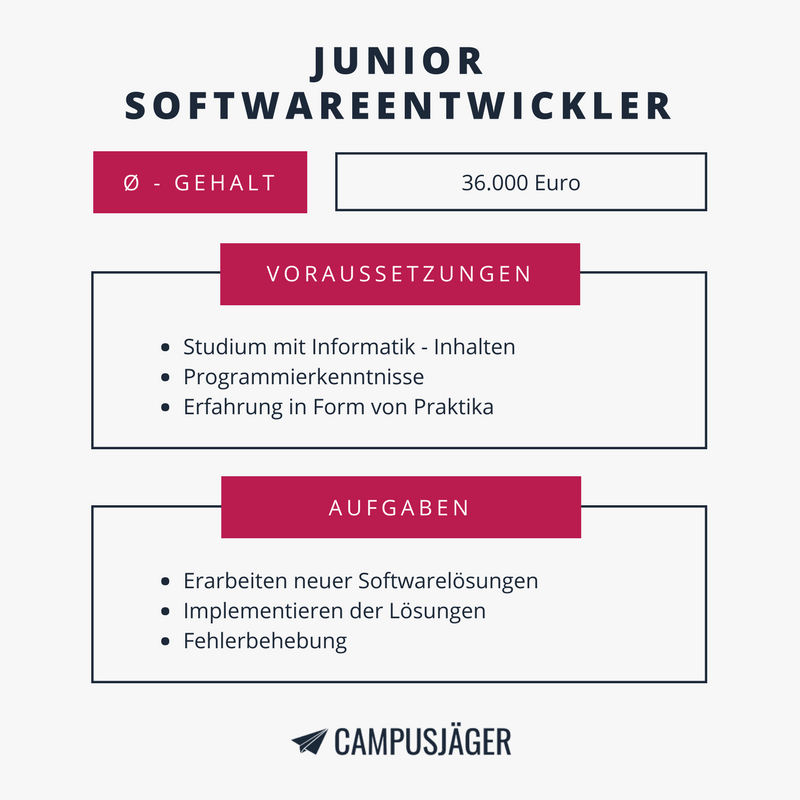 Junior Softwareentwickler Einstiegsgehalt Infografik