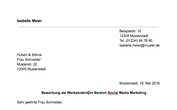 Bewerbung Marketing